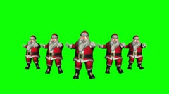 Five Santas dancing (green screen) Stock Footage