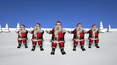 Five dancing Santas Stock Footage