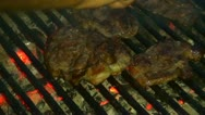 Stock Video Footage of Grill in the Night, Fresh Meat on Grill, Chicken on Grill, Pork on Grill