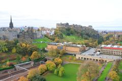 edinburgh castle and park - stock photo