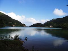 lake locates at canyonside of nanling ridge - stock photo