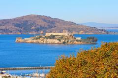 Alcatraz island and hyde street pier, san francisco, california Stock Photos