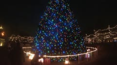 Immense Old Fashioned, Outdoor Christmas Tree with Blue Lights Stock Footage
