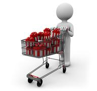 Cart of gifts Stock Illustration