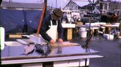 FRESH SEAFOOD Fishmonger Farmers Market Docks 1960s Vintage Film Home Movie 6402 Stock Footage