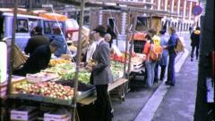 FARMERS MARKET Vendors and Shoppers 1970 (VIntage Old Film Home Movie) 6404 - stock footage