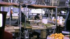 FARMERS MARKET Paris Street Sellers 1970 (VIntage Old Film Home Movie) 6405 Stock Footage