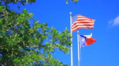 Wide shot of U.S. and Texas flags - stock footage