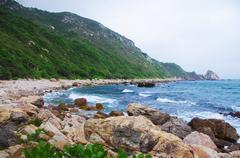 seaside with great rocks at chinese city Hongkong - stock photo