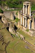 Remains of roman amphitheatre in volterra, tuscany, italy Stock Photos
