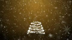 New Year tree with falling snowflakes and stars Stock Footage