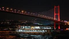 Bosporus Bridge in Night Stock Footage