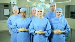 Portrait Surgical Team Hospital Scrubs - stock footage