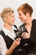 lesbians and red wine - stock photo
