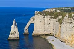 cliffs of etretat, normandy, france - stock photo