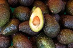 fresh avocados at local market - stock photo
