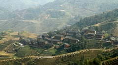 Longsheng Village and Terraced Rice Field at Morning Stock Footage