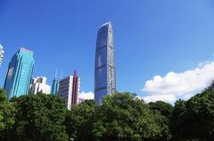 Landmark building of south chinese city Shenzhen Stock Photos