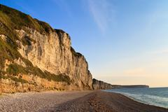Cliffs near etretat and fecamp, normandy, france Stock Photos