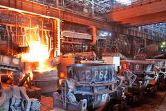 Open hearth workshop of metallurgical plant - stock photo