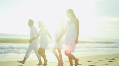 Casual Dressed Caucasian Family Outdoors Together Beach Stock Footage