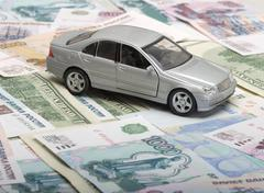 the silvery toy car - stock photo