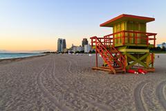 Sunrise and cabin on the beach, miami beach, florida, usa Stock Photos