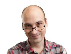 portrait of smiling happy real person - stock photo