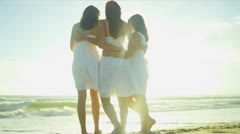Teenage Girls Spending Quiet Time Beach with Mother Stock Footage