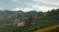 Longsheng Village and Terraced Rice Field at Morning - 4K Stock Footage
