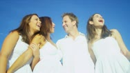 Portrait Happy Caucasian Family Together at Beach Stock Footage