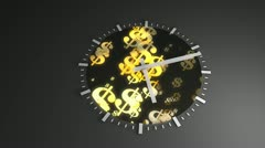Time and money concept animation, clock, ticking, running. Stock Footage