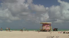Lifeguard station on Miami Beach Stock Footage