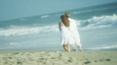 Married Couple Enjoying Time Together on Beach Stock Footage