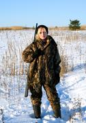 Winter hunting. Stock Photos