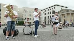 Young Musical performers in streets of Berlin Stock Footage