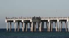 Gulf Of Mexico Fishing Pier - stock footage