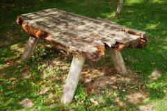 Old picnic table in the garden Stock Photos