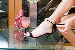 Black spike heel - stock photo