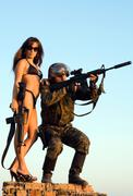 Soldier and woman - stock photo