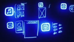 Mobile App Wireframing, Prototyping (Neon Blueprint) Stock Footage