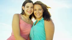 Close Up Happy Teenage Girls Outdoors Stock Footage