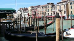 Venice gondolas at Wide Canal Stock Footage