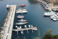 Small boats at Monaco bay Stock Photos