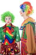 A couple of serious clowns Stock Photos