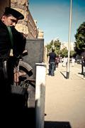 Egyptian policemen with rifle Stock Photos