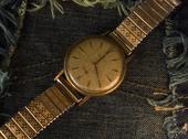 Vintage golden wristwatch. Stock Photos