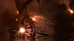 pirates landing 06 e - stock footage
