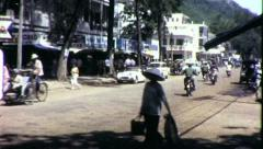 Street Scene Near US Army Base Vietnam War 1960s Vintage GI Home Movie Film 6484 Stock Footage