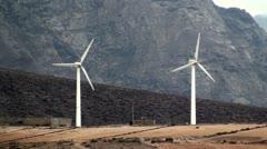 Wind turbines en Canary Island (Las Palmas de Gran Canaria) - stock footage
